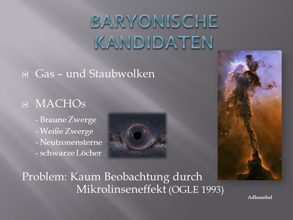 Gas – und Staubwolken MACHOs - Braune Zwerge - Weiße Zwerge - Neutronensterne - schwarze Löcher Problem: Kaum Beobachtung durch Mikrolinseneffekt (OGL