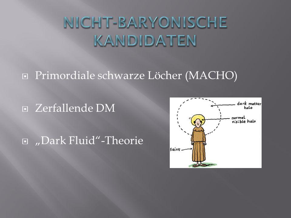 Primordiale schwarze Löcher (MACHO) Zerfallende DM Dark Fluid-Theorie