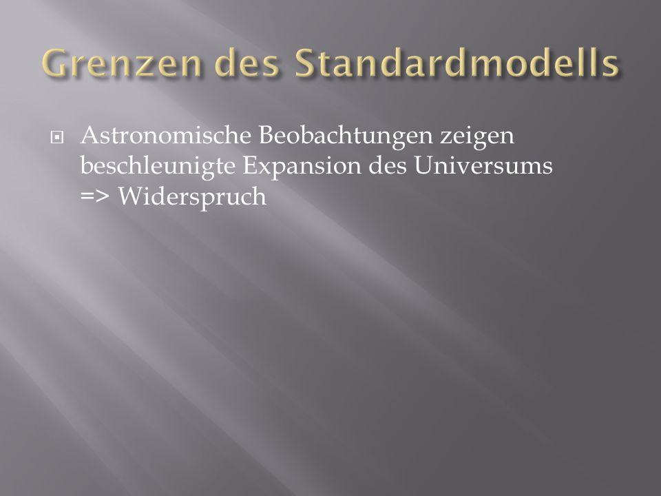 Astronomische Beobachtungen zeigen beschleunigte Expansion des Universums => Widerspruch