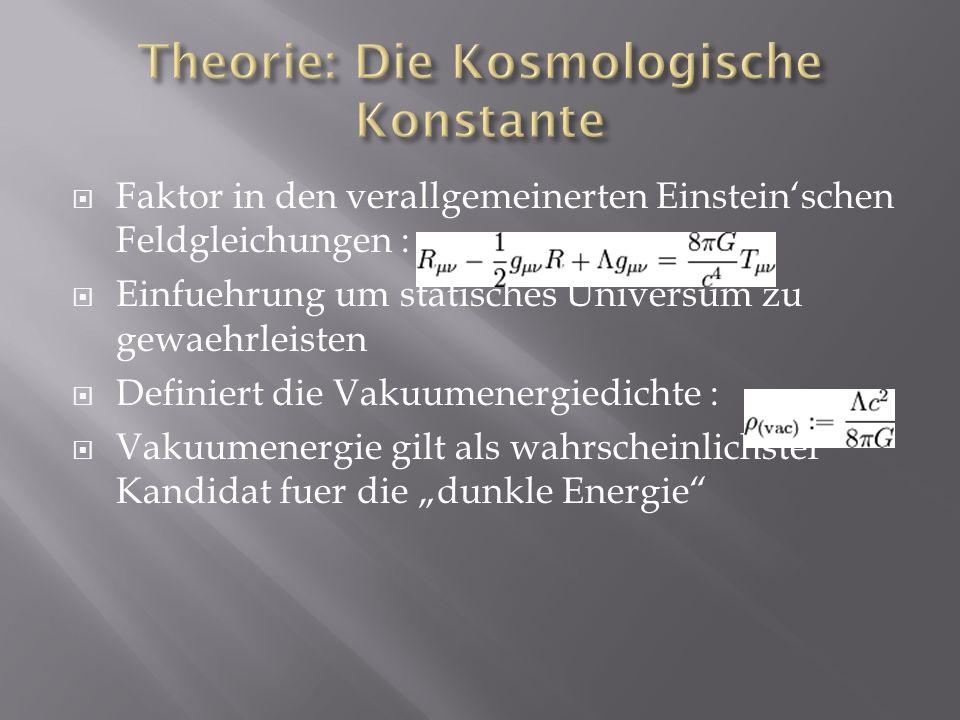 Faktor in den verallgemeinerten Einsteinschen Feldgleichungen : Einfuehrung um statisches Universum zu gewaehrleisten Definiert die Vakuumenergiedicht