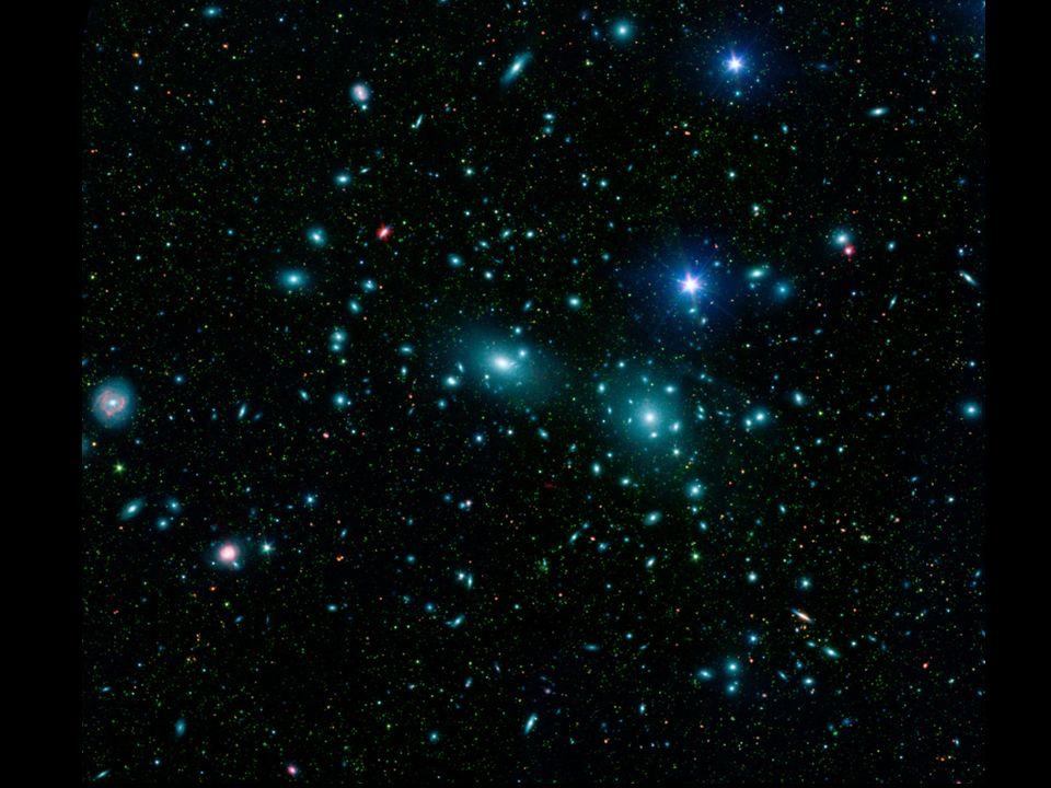 1960, Vera Rubin: Umlaufgeschwindigkeit der Sterne um das galaktisches Zentrum nimmt mit zunehmender Entfernung nicht ab.