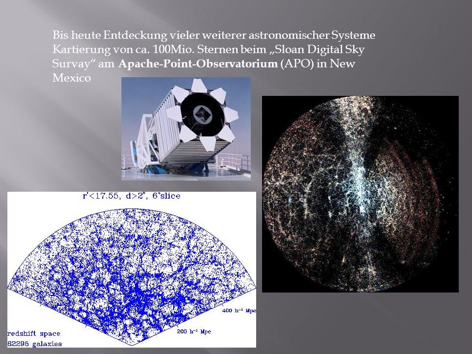 Bis heute Entdeckung vieler weiterer astronomischer Systeme Kartierung von ca. 100Mio. Sternen beim Sloan Digital Sky Survay am Apache-Point-Observato