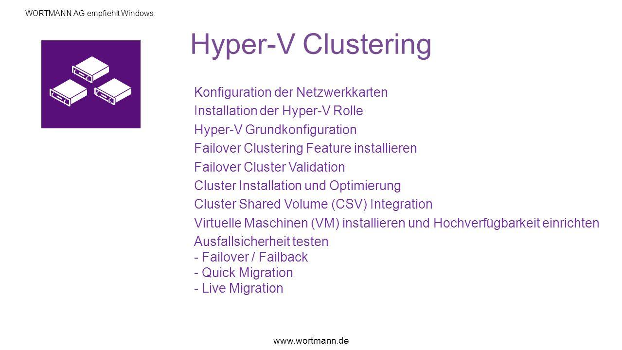 Hyper-V Clustering Konfiguration der Netzwerkkarten Installation der Hyper-V Rolle Hyper-V Grundkonfiguration Failover Clustering Feature installieren