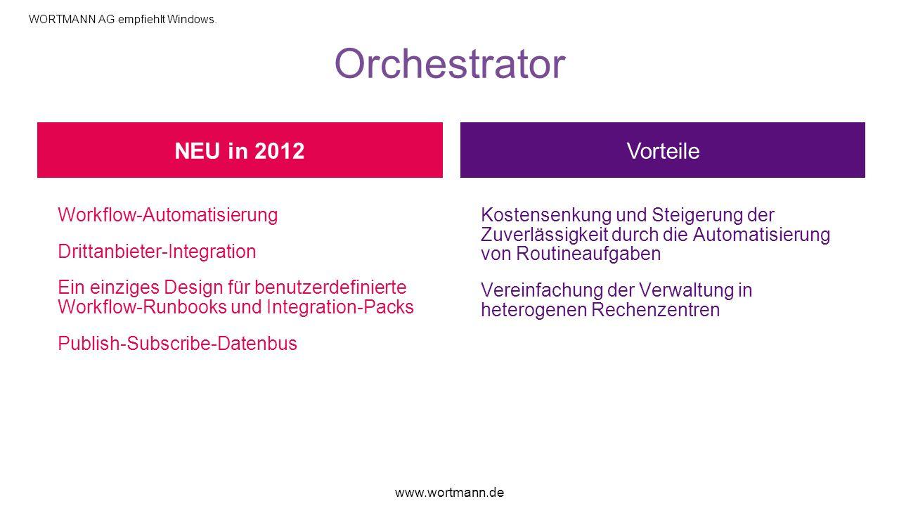Orchestrator Vorteile Workflow-Automatisierung Drittanbieter-Integration Ein einziges Design für benutzerdefinierte Workflow-Runbooks und Integration-