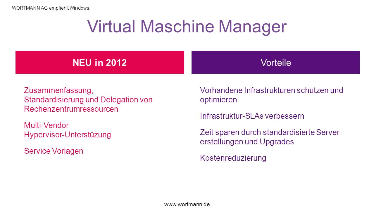 Virtual Maschine Manager Vorteile Zusammenfassung, Standardisierung und Delegation von Rechenzentrumressourcen Multi-Vendor Hypervisor-Unterstüzung Se