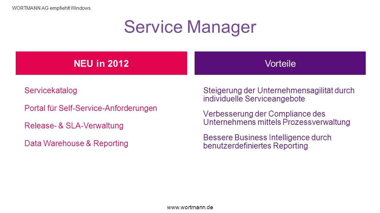 Service Manager Vorteile Servicekatalog Portal für Self-Service-Anforderungen Release- & SLA-Verwaltung Data Warehouse & Reporting Steigerung der Unte