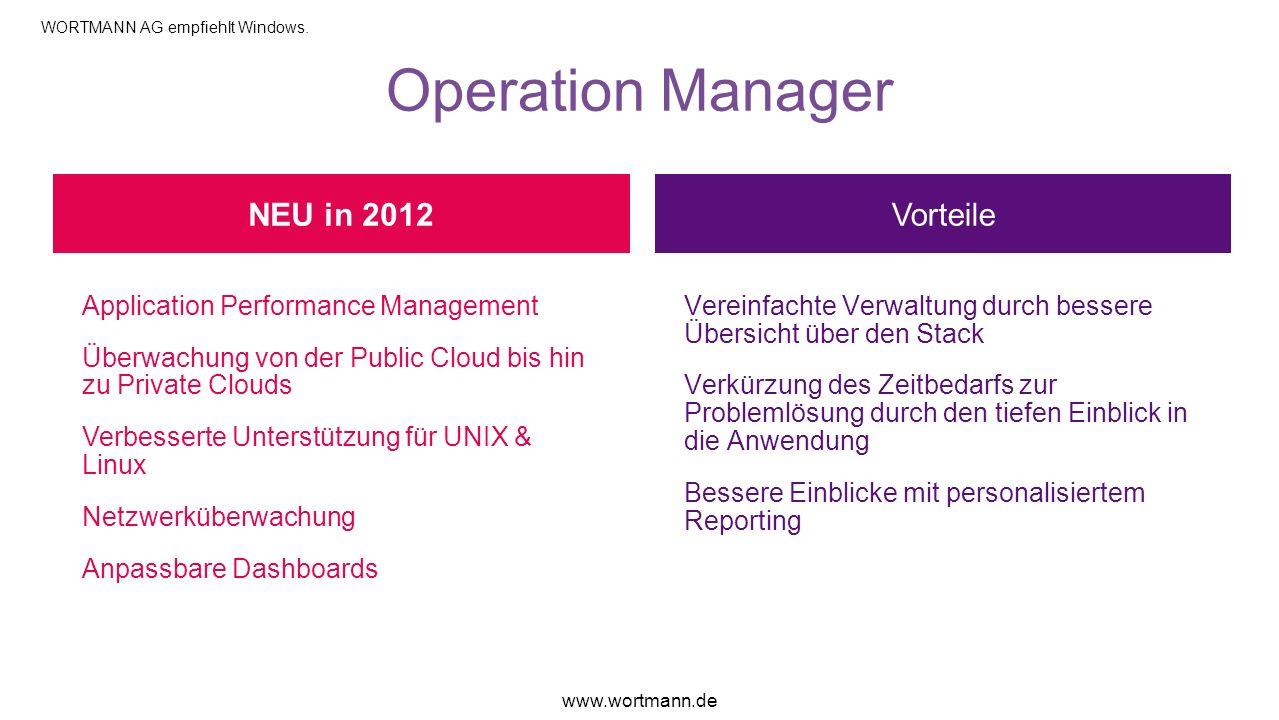Operation Manager Vorteile Application Performance Management Überwachung von der Public Cloud bis hin zu Private Clouds Verbesserte Unterstützung für