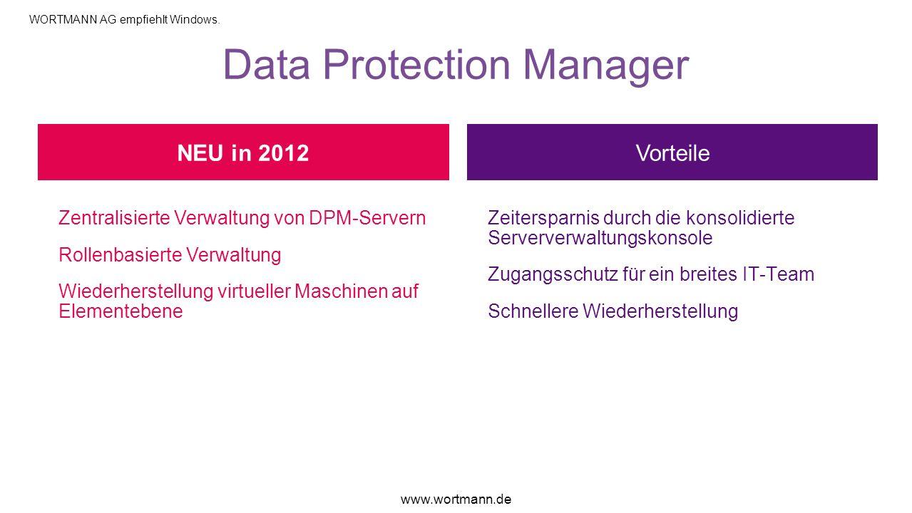Data Protection Manager Vorteile Zentralisierte Verwaltung von DPM-Servern Rollenbasierte Verwaltung Wiederherstellung virtueller Maschinen auf Elemen