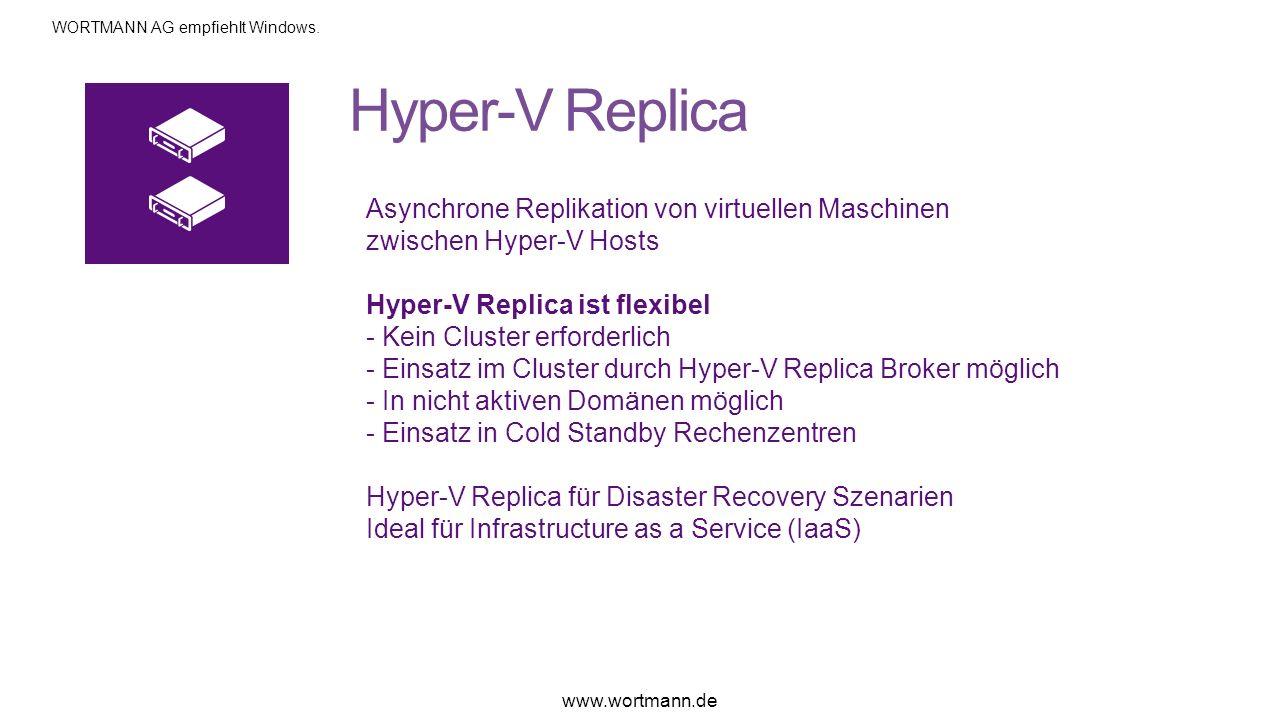 Asynchrone Replikation von virtuellen Maschinen zwischen Hyper-V Hosts Hyper-V Replica ist flexibel - Kein Cluster erforderlich - Einsatz im Cluster d
