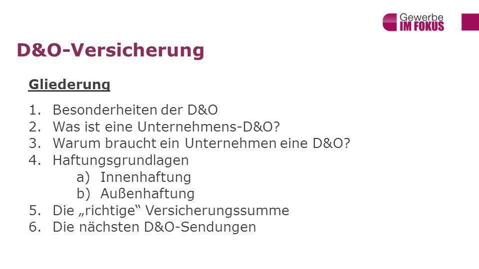 D&O-Versicherung Gliederung 1.Besonderheiten der D&O 2.Was ist eine Unternehmens-D&O.