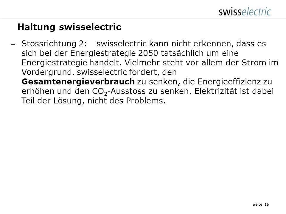 Haltung swisselectric – Stossrichtung 1: swisselectric unterstützt die sparsame und rationelle Energienutzung, erachtet die konkreten Zielwerte für 20