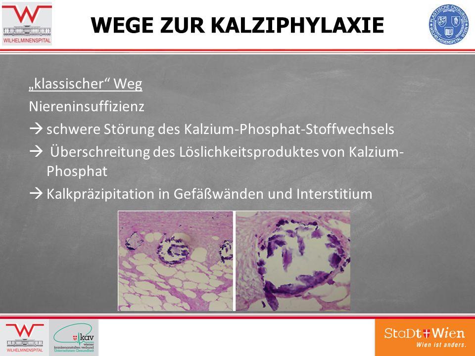 WEGE ZUR KALZIPHYLAXIE klassischer Weg Niereninsuffizienz schwere Störung des Kalzium-Phosphat-Stoffwechsels Überschreitung des Löslichkeitsproduktes