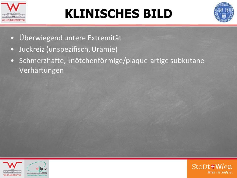 KLINISCHES BILD Überwiegend untere Extremität Juckreiz (unspezifisch, Urämie) Schmerzhafte, knötchenförmige/plaque-artige subkutane Verhärtungen