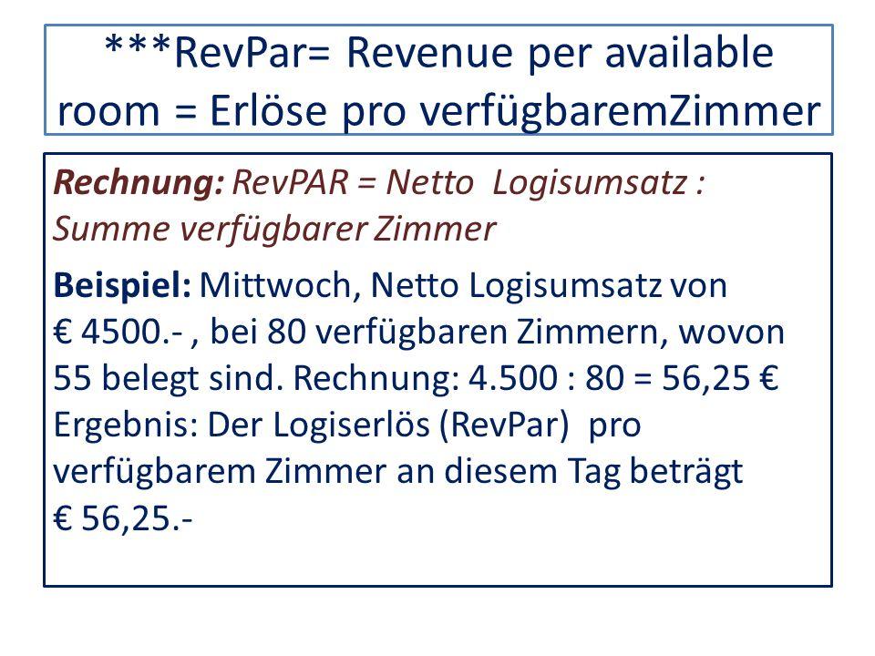 ***RevPar= Revenue per available room = Erlöse pro verfügbaremZimmer Rechnung: RevPAR = Netto Logisumsatz : Summe verfügbarer Zimmer Beispiel: Mittwoc