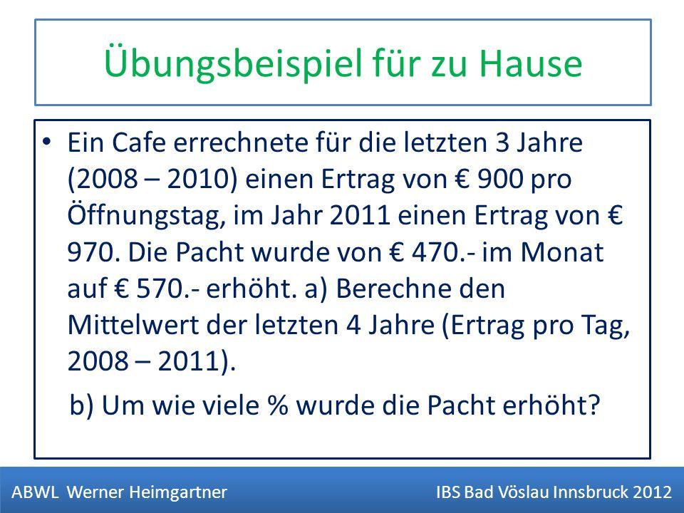 Übungsbeispiel für zu Hause Ein Cafe errechnete für die letzten 3 Jahre (2008 – 2010) einen Ertrag von 900 pro Öffnungstag, im Jahr 2011 einen Ertrag