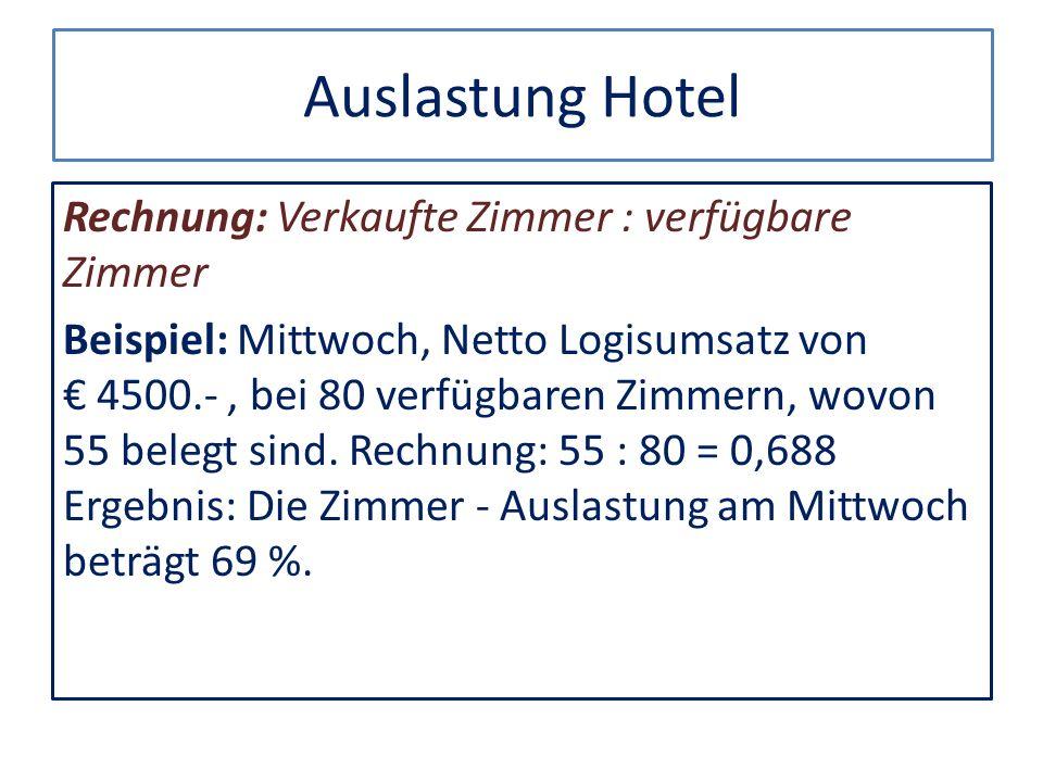 Auslastung Hotel Rechnung: Verkaufte Zimmer : verfügbare Zimmer Beispiel: Mittwoch, Netto Logisumsatz von 4500.-, bei 80 verfügbaren Zimmern, wovon 55