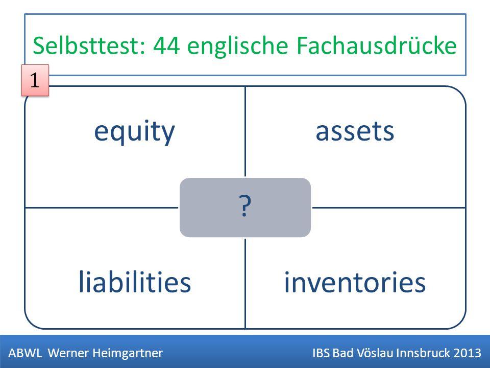 Selbsttest: 44 englische Fachausdrücke equityassets liabilitiesinventories ? ABWL Werner Heimgartner IBS Bad Vöslau Innsbruck 2013