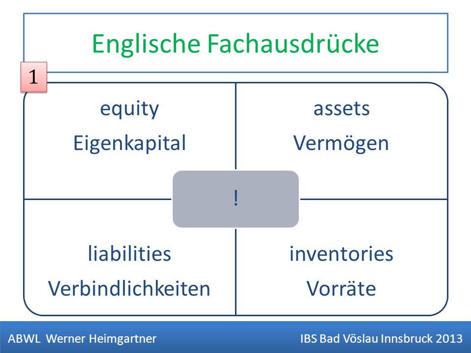 Englische Fachausdrücke equity Eigenkapital assets Vermögen liabilities Verbindlichkeiten inventories Vorräte ! ABWL Werner Heimgartner IBS Bad Vöslau