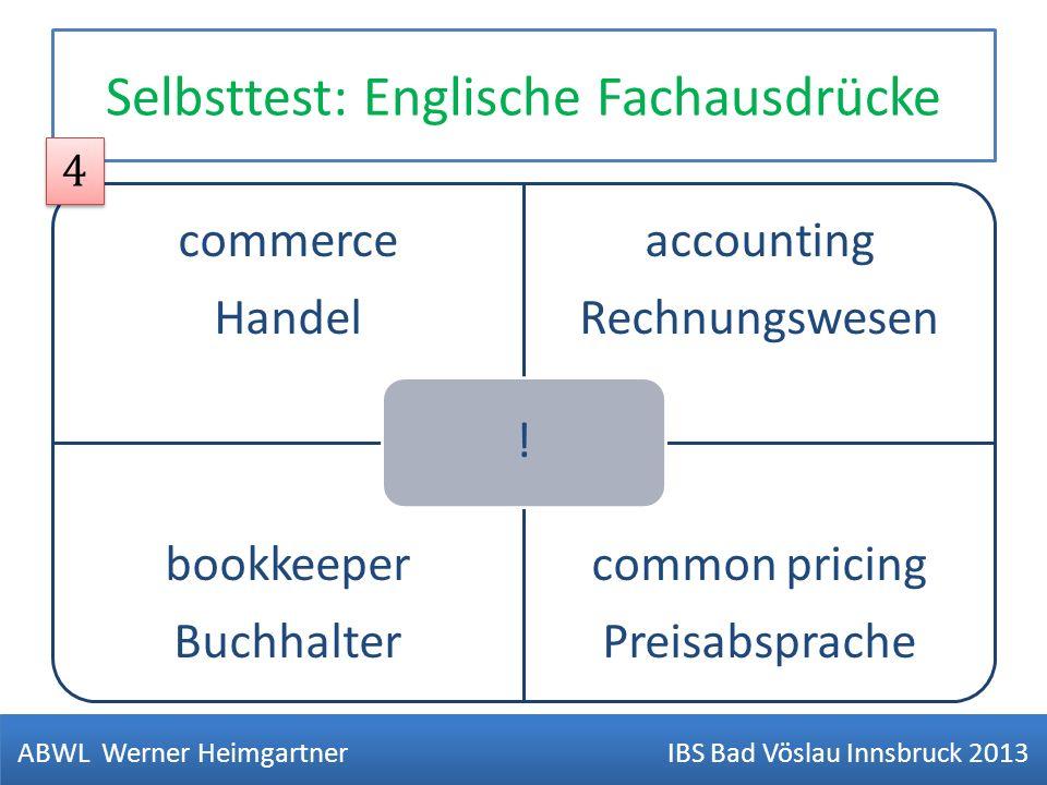 Selbsttest: Englische Fachausdrücke commerce Handel accounting Rechnungswesen bookkeeper Buchhalter common pricing Preisabsprache ! ABWL Werner Heimga