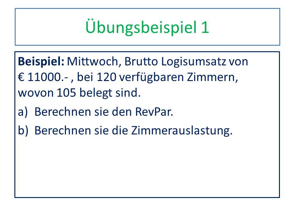 Übungsbeispiel 1 Beispiel: Mittwoch, Brutto Logisumsatz von 11000.-, bei 120 verfügbaren Zimmern, wovon 105 belegt sind. a)Berechnen sie den RevPar. b
