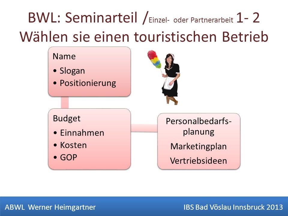 BWL: Seminarteil / Einzel- oder Partnerarbeit 1- 2 Wählen sie einen touristischen Betrieb ABWL Werner Heimgartner IBS Bad Vöslau Innsbruck 2013 Name S