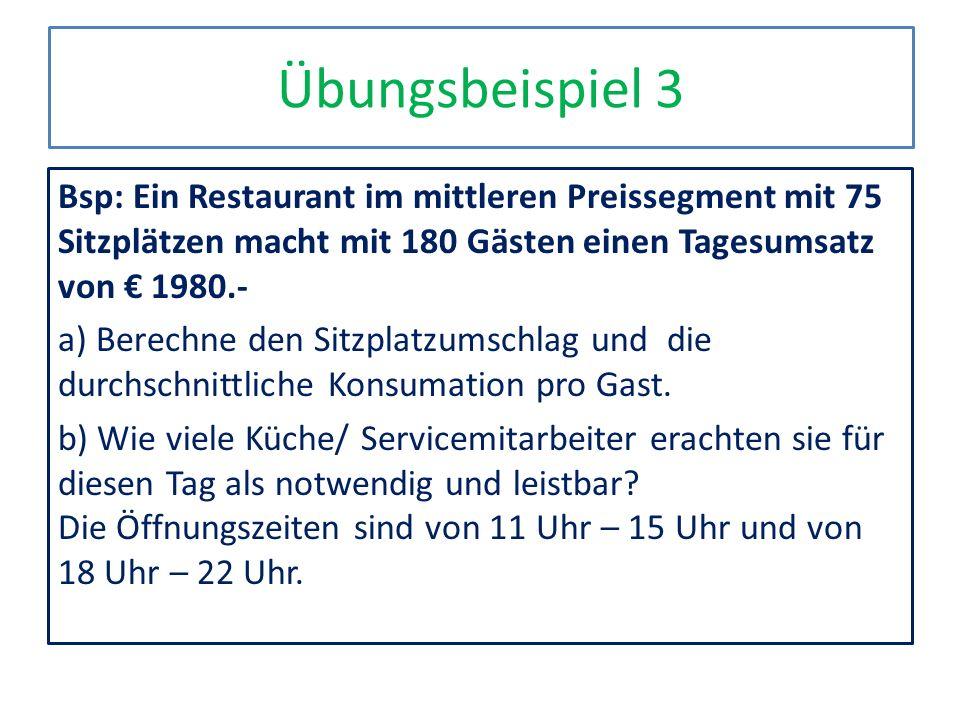 Übungsbeispiel 3 Bsp: Ein Restaurant im mittleren Preissegment mit 75 Sitzplätzen macht mit 180 Gästen einen Tagesumsatz von 1980.- a) Berechne den Si