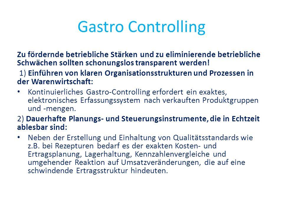 Gastro Controlling Zu fördernde betriebliche Stärken und zu eliminierende betriebliche Schwächen sollten schonungslos transparent werden! 1) Einführen