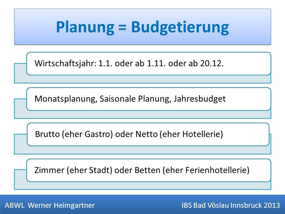 Planung = Budgetierung Wirtschaftsjahr: 1.1. oder ab 1.11. oder ab 20.12.Monatsplanung, Saisonale Planung, JahresbudgetBrutto (eher Gastro) oder Netto