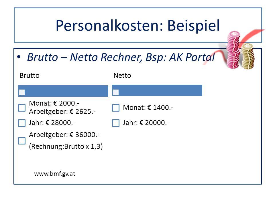 Personalkosten: Beispiel Brutto – Netto Rechner, Bsp: AK Portal Brutto Monat: 2000.- Arbeitgeber: 2625.- Jahr: 28000.- Arbeitgeber: 36000.- (Rechnung: