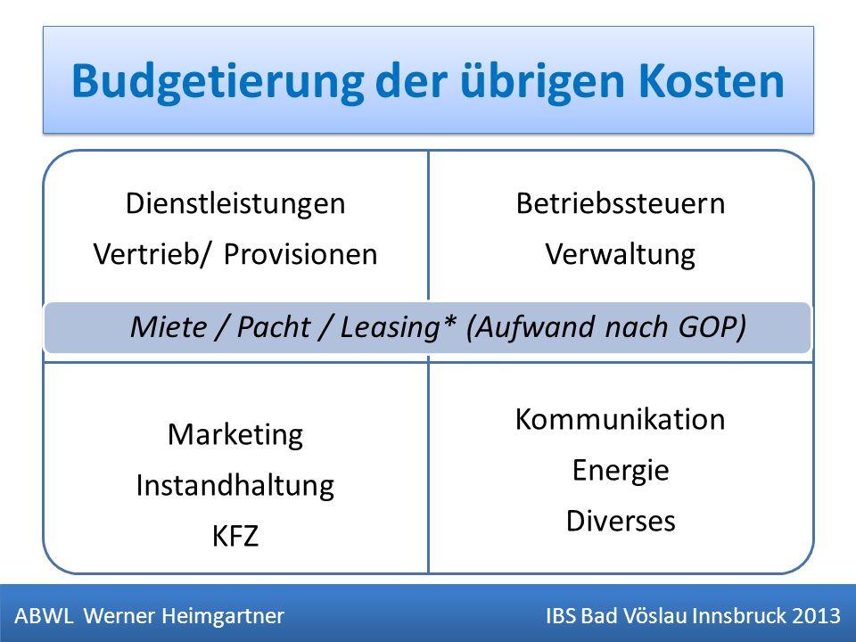 Budgetierung der übrigen Kosten ABWL Werner Heimgartner IBS Bad Vöslau Innsbruck 2013 V= Verpfegung Dienstleistungen Vertrieb/ Provisionen Betriebsste