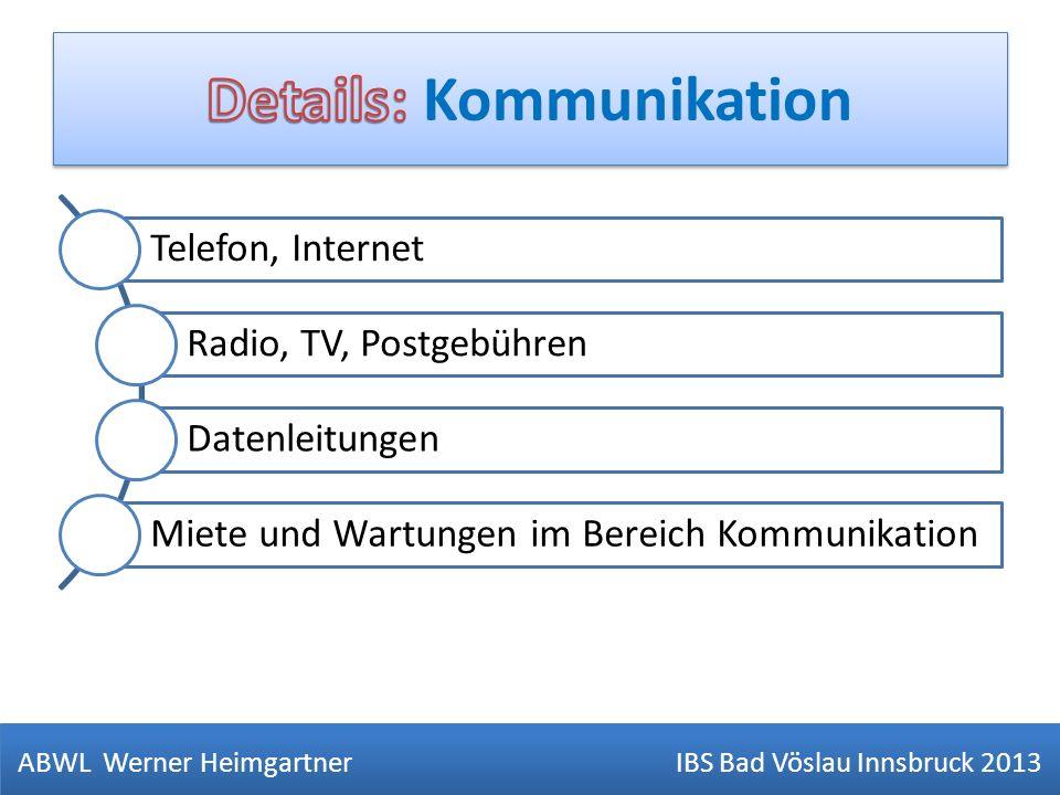 ABWL Werner Heimgartner IBS Bad Vöslau Innsbruck 2013 Telefon, Internet Radio, TV, Postgebühren Datenleitungen Miete und Wartungen im Bereich Kommunik