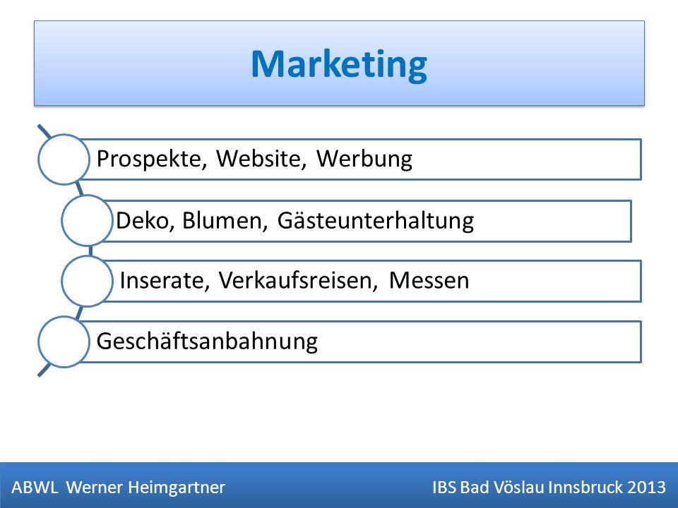 Marketing ABWL Werner Heimgartner IBS Bad Vöslau Innsbruck 2013 Prospekte, Website, Werbung Deko, Blumen, Gästeunterhaltung Inserate, Verkaufsreisen,