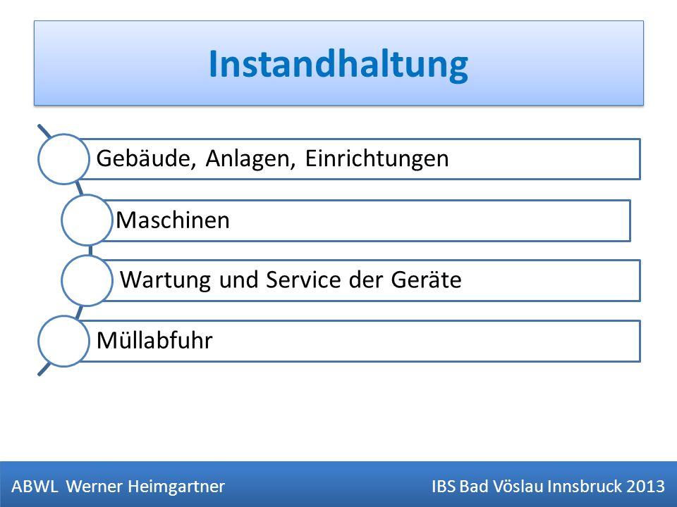 Instandhaltung ABWL Werner Heimgartner IBS Bad Vöslau Innsbruck 2013 Gebäude, Anlagen, Einrichtungen Maschinen Wartung und Service der Geräte Müllabfu