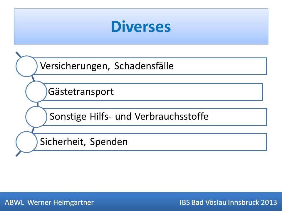 Diverses ABWL Werner Heimgartner IBS Bad Vöslau Innsbruck 2013 Versicherungen, Schadensfälle Gästetransport Sonstige Hilfs- und Verbrauchsstoffe Siche
