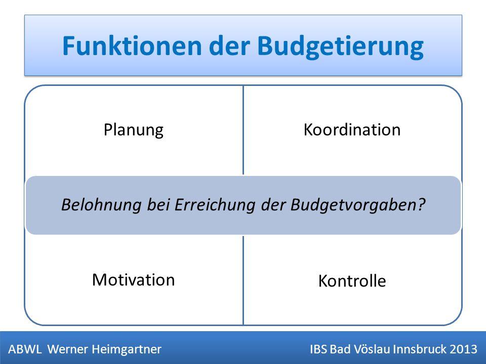 Funktionen der Budgetierung ABWL Werner Heimgartner IBS Bad Vöslau Innsbruck 2013 V= Verpfegung PlanungKoordination Motivation Kontrolle Belohnung bei