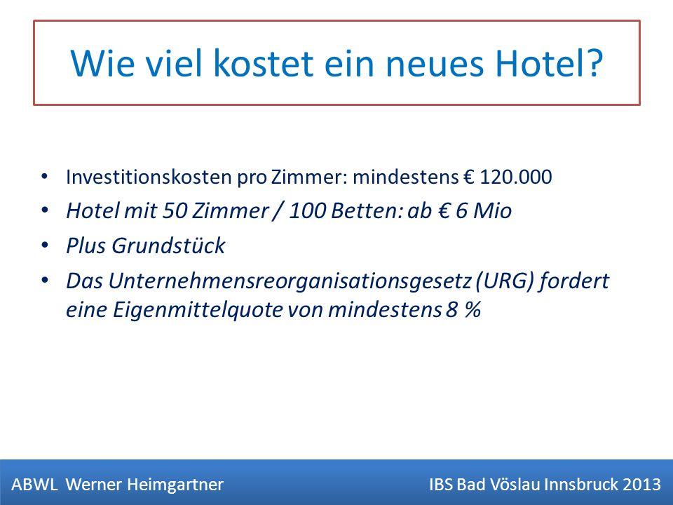 Wie viel kostet ein neues Hotel? Investitionskosten pro Zimmer: mindestens 120.000 Hotel mit 50 Zimmer / 100 Betten: ab 6 Mio Plus Grundstück Das Unte