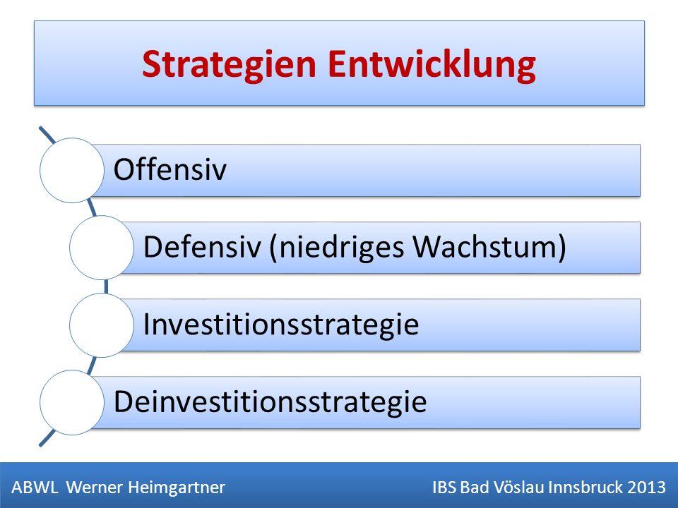 Strategien Entwicklung ABWL Werner Heimgartner IBS Bad Vöslau Innsbruck 2013 Offensiv Defensiv (niedriges Wachstum) Investitionsstrategie Deinvestitio
