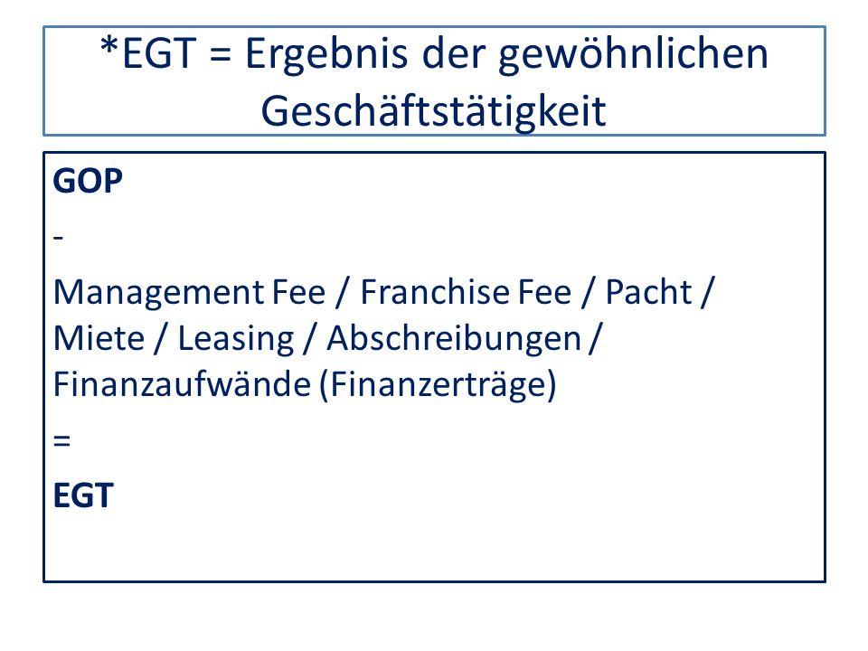*EGT = Ergebnis der gewöhnlichen Geschäftstätigkeit GOP - Management Fee / Franchise Fee / Pacht / Miete / Leasing / Abschreibungen / Finanzaufwände (