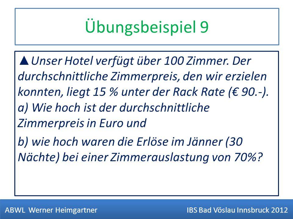 Übungsbeispiel 9 Unser Hotel verfügt über 100 Zimmer. Der durchschnittliche Zimmerpreis, den wir erzielen konnten, liegt 15 % unter der Rack Rate ( 90