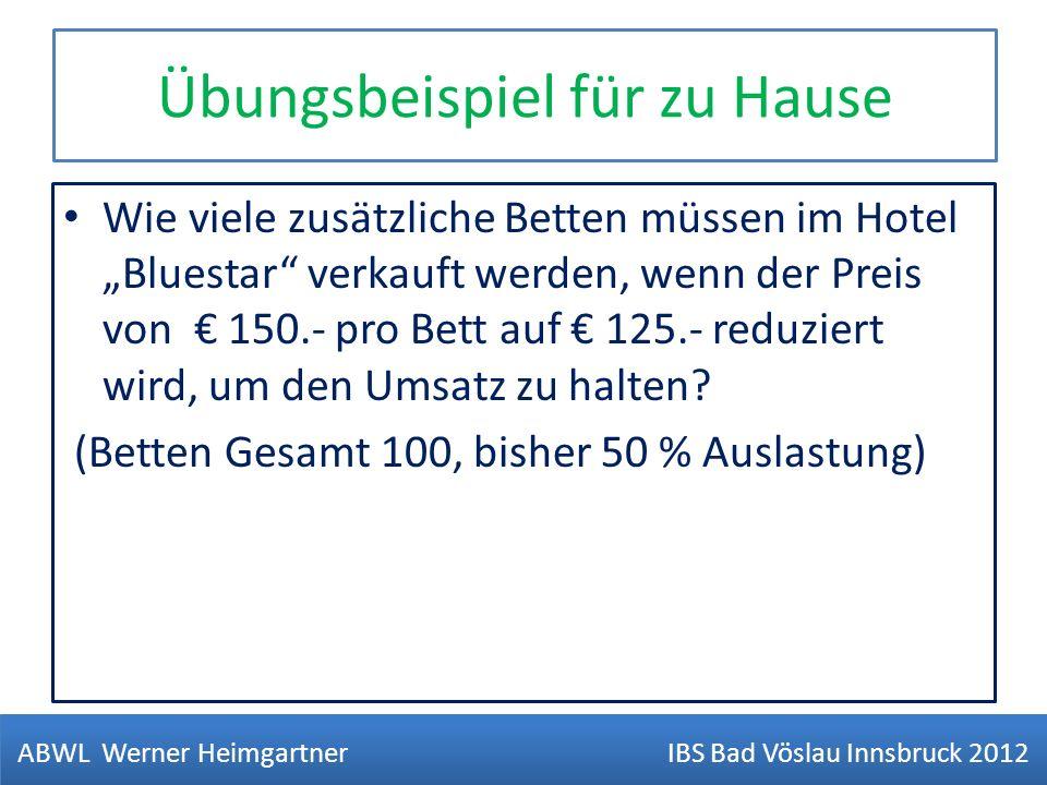Übungsbeispiel für zu Hause Wie viele zusätzliche Betten müssen im Hotel Bluestar verkauft werden, wenn der Preis von 150.- pro Bett auf 125.- reduzie