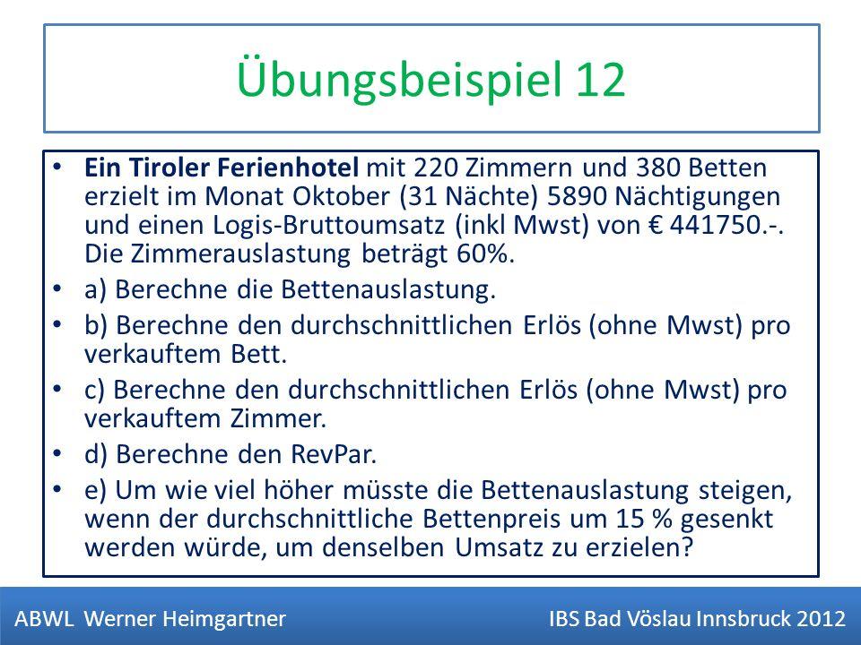 Übungsbeispiel 12 Ein Tiroler Ferienhotel mit 220 Zimmern und 380 Betten erzielt im Monat Oktober (31 Nächte) 5890 Nächtigungen und einen Logis-Brutto