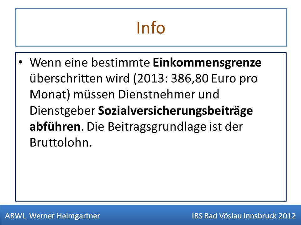 Info Wenn eine bestimmte Einkommensgrenze überschritten wird (2013: 386,80 Euro pro Monat) müssen Dienstnehmer und Dienstgeber Sozialversicherungsbeit