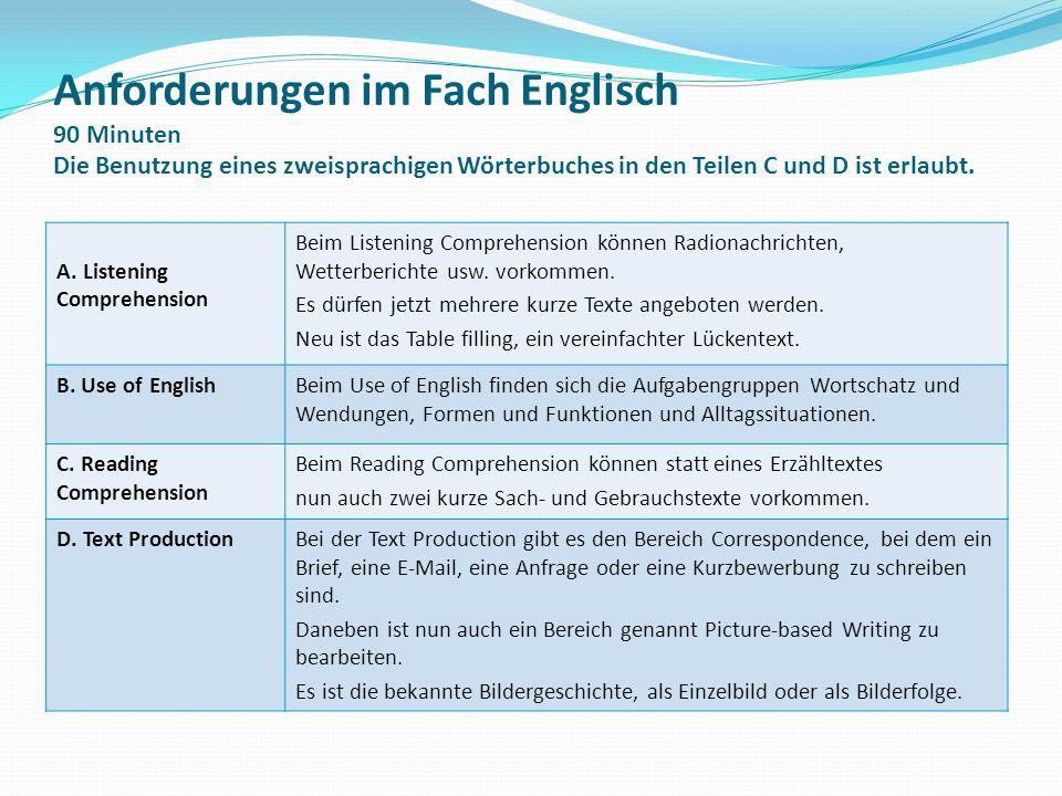 Anforderungen im Fach Englisch 90 Minuten Die Benutzung eines zweisprachigen Wörterbuches in den Teilen C und D ist erlaubt. A. Listening Comprehensio