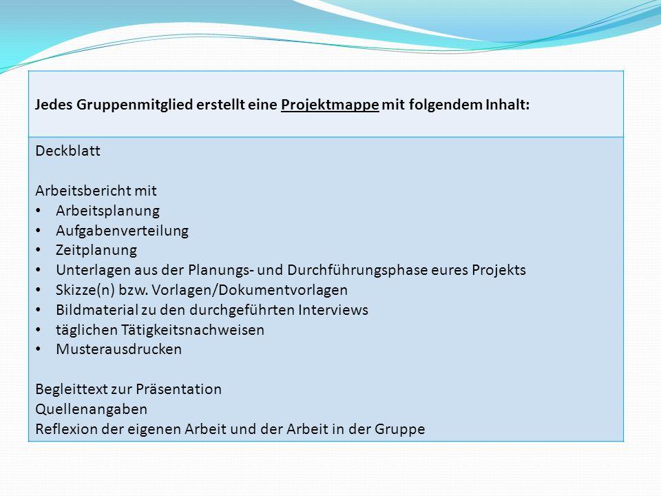 Jedes Gruppenmitglied erstellt eine Projektmappe mit folgendem Inhalt: Deckblatt Arbeitsbericht mit Arbeitsplanung Aufgabenverteilung Zeitplanung Unte