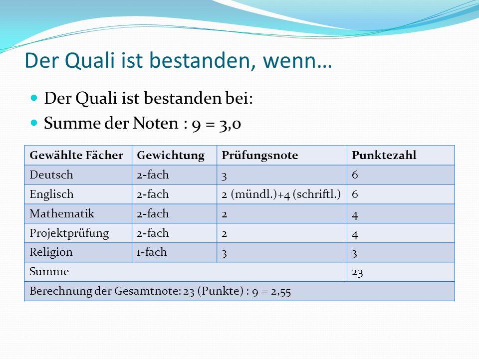Der Quali ist bestanden, wenn… Der Quali ist bestanden bei: Summe der Noten : 9 = 3,0 Gewählte FächerGewichtungPrüfungsnotePunktezahl Deutsch2-fach36
