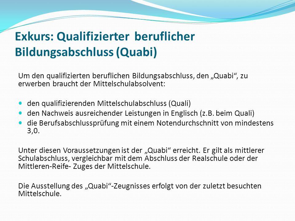 Exkurs: Qualifizierter beruflicher Bildungsabschluss (Quabi) Um den qualifizierten beruflichen Bildungsabschluss, den Quabi, zu erwerben braucht der M