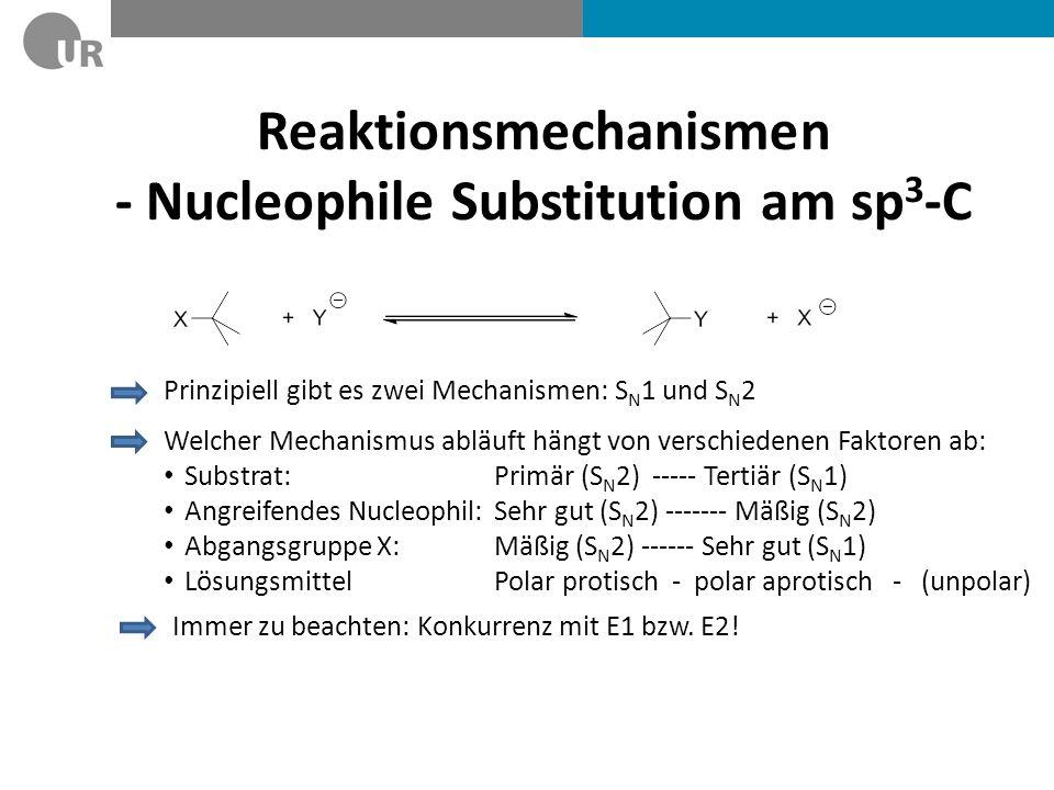 Reaktionsmechanismen - Nucleophile Substitution am sp 3 -C Prinzipiell gibt es zwei Mechanismen: S N 1 und S N 2 Welcher Mechanismus abläuft hängt von
