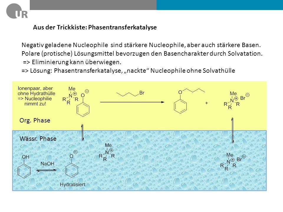 Aus der Trickkiste: Phasentransferkatalyse Negativ geladene Nucleophile sind stärkere Nucleophile, aber auch stärkere Basen. Polare (protische) Lösung