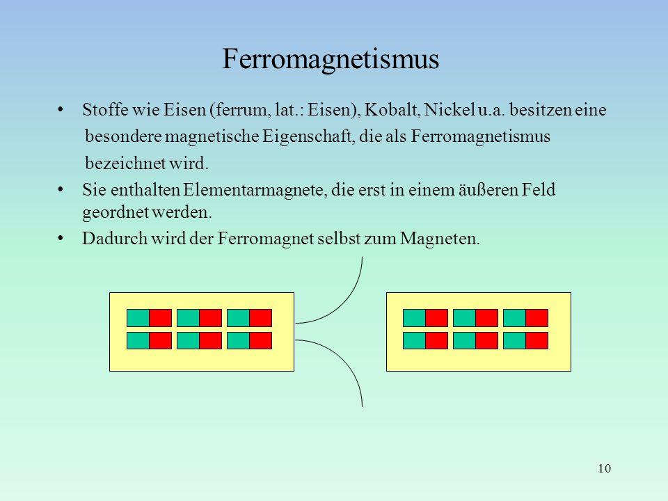 Ferromagnetismus Stoffe wie Eisen (ferrum, lat.: Eisen), Kobalt, Nickel u.a. besitzen eine besondere magnetische Eigenschaft, die als Ferromagnetismus