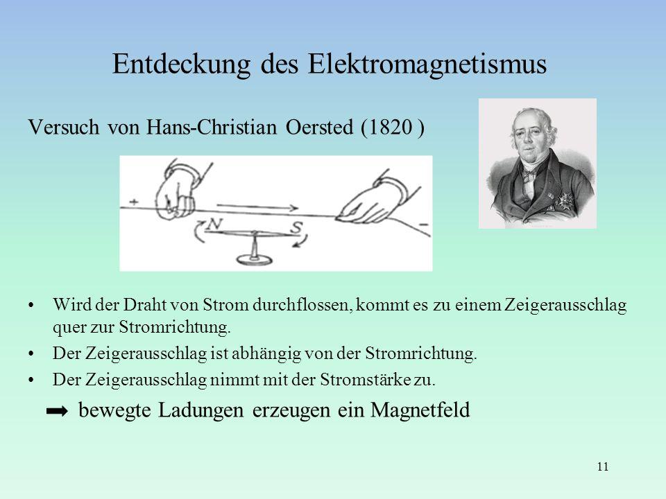 Entdeckung des Elektromagnetismus Versuch von Hans-Christian Oersted (1820 ) Wird der Draht von Strom durchflossen, kommt es zu einem Zeigerausschlag